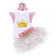 ab7af02c2fff9 3 pièces ensemble mignon bébé fille vêtements pour 1st fête d'anniversaire  Tutu jupe sans manches barboteuse couronne mon premie.