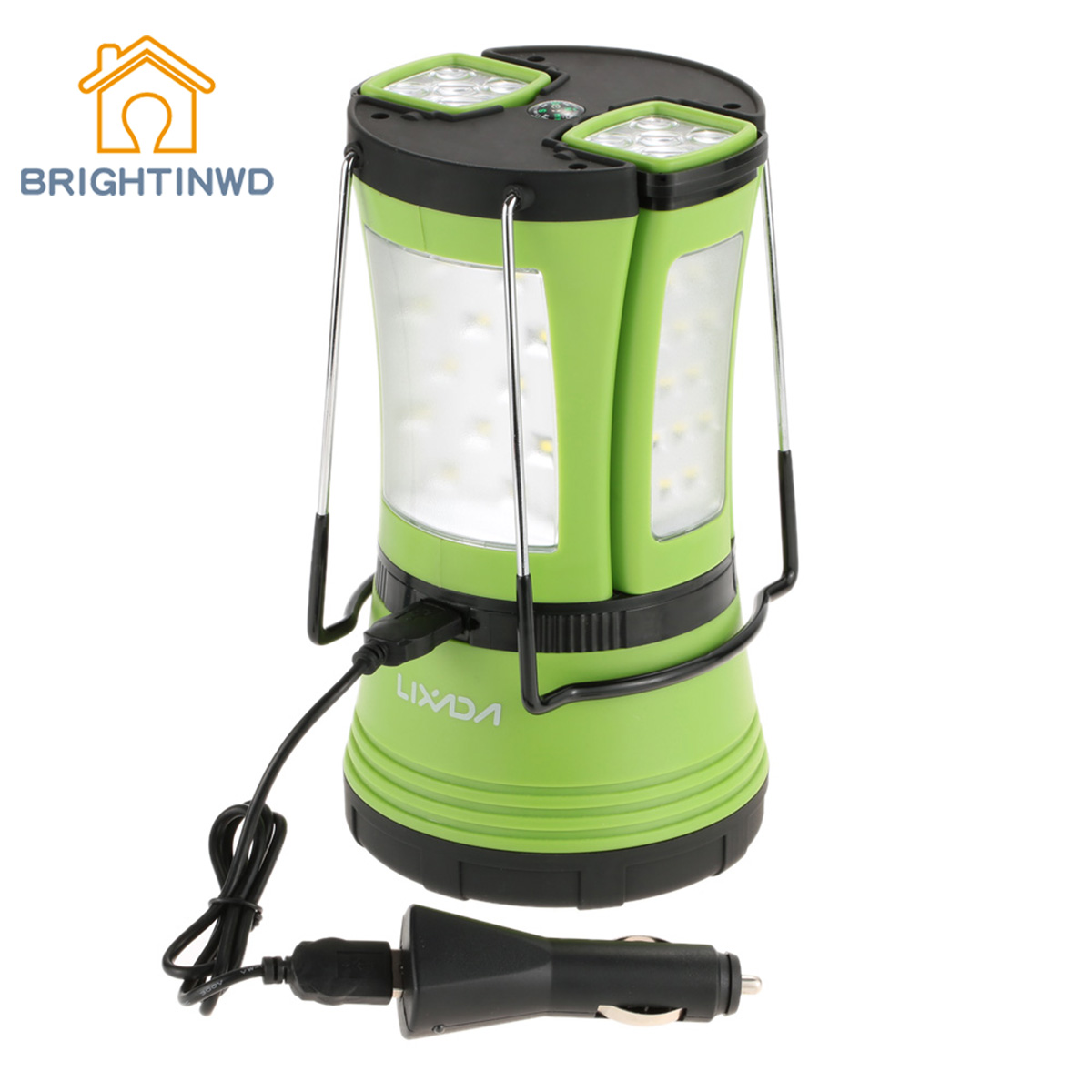 BRIGHTINWD LED Rechargeable Waterproof Tent Light Camping Outdoor Camping Lantern 2 Detachable Flashlight Torch 10W 600LM brightinwd q9ir sos emergency led light with remote control magnetic camping rechargeable outdoor portable lantern led camping