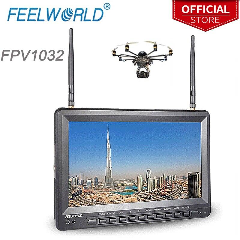 Feelworld 10.1 pouce IPS 1024x600 Moniteur FPV pour GoPro avec Batterie Intégrée Double 5.8g 32CH Récepteur de Diversité FPV1032