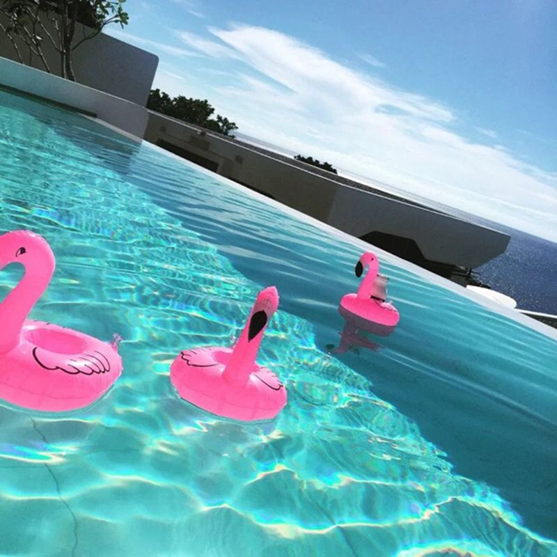 Mini Inflatable Pool Flamingo Float Drink Cup Can Holder
