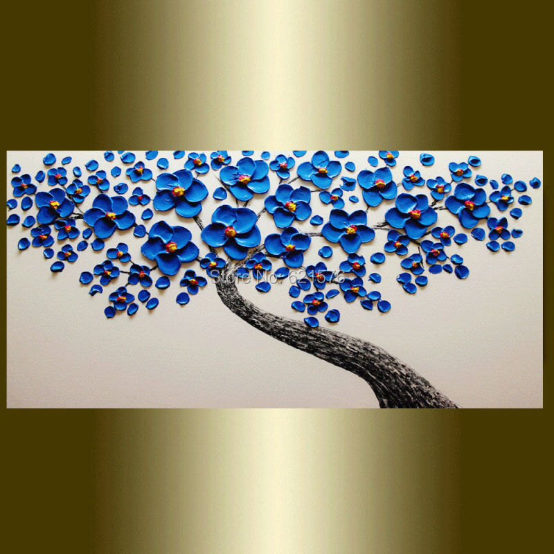 Hand Painted Modern Home Decoration Blue Cherry Blossom White Wall