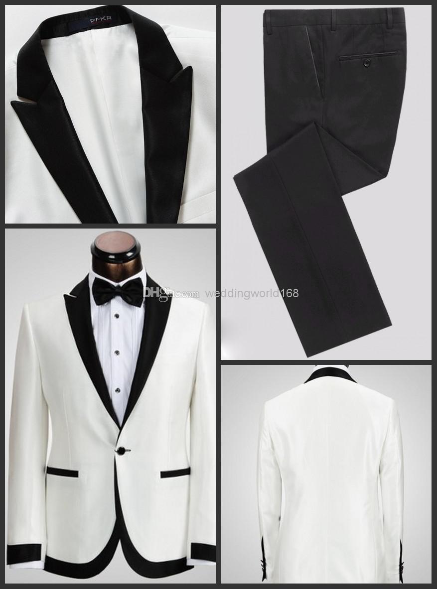 White Jacket Black Pants Groom Tuxedos Peak Lapel Best Man Suit Groomsman Bridegroom Wedding Prom Suits Tie In From Men S Clothing