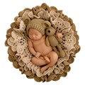 Opción 3 Mantas de Bebé Recién Nacido Fotografía Atrezzo Crochet Floral + lindo Oso Sombrero Hecho Punto + Conjuntos Oso Bebé Fotografia Foto Kits
