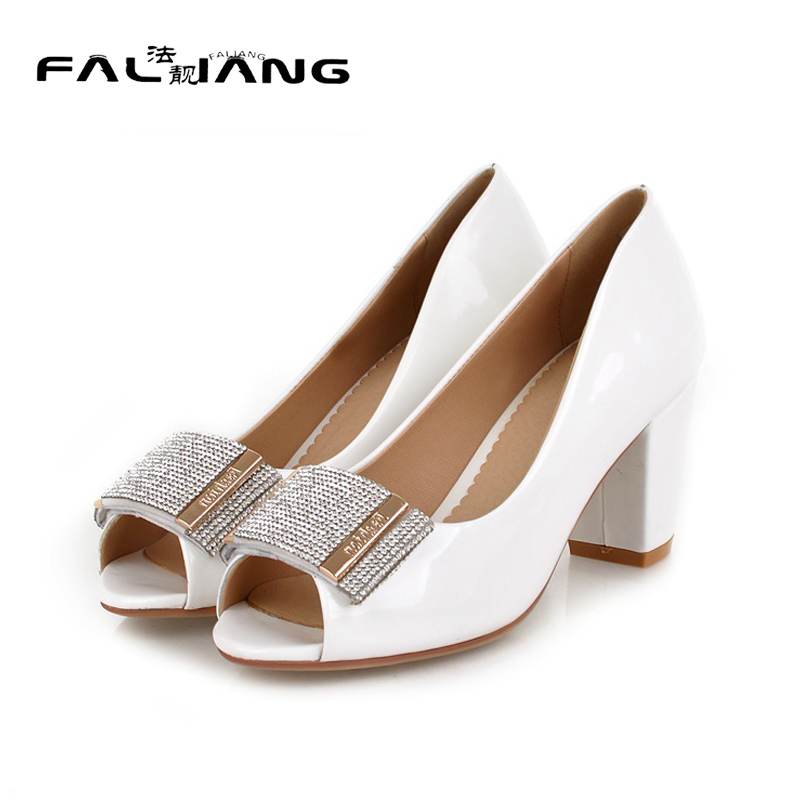 New Office Lady Big Size 11 12 Crystal women shoes woman Peep Toe ladies womens High Square heel Spring Autumn Single shoes new flock high big size 11 12 women shoes wedges pointed toe woman ladies butterfly knot casual spring autumn sweet single shoes