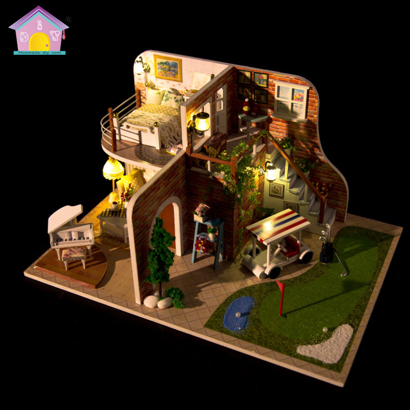 DIY Doll House Miniature Dollhouse With Furnitures Handmade Wooden House Miniaturas Toys For Children New Year Christmas Gift M8 недорого