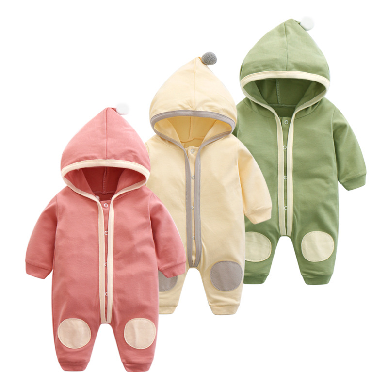 4 Color Newborn Baby Boys Girls Jumpsuit 2019 New Baby Spring Autumn Pure Cotton Clothes Hoodie   Rompers   Infant Baby Pajamas