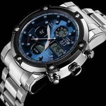 Asj new famosa marca homem ocasional masculino esporte moda de luxo relógio digital militar do exército de aço LEVOU buseinss relógio de pulso de quartzo 110