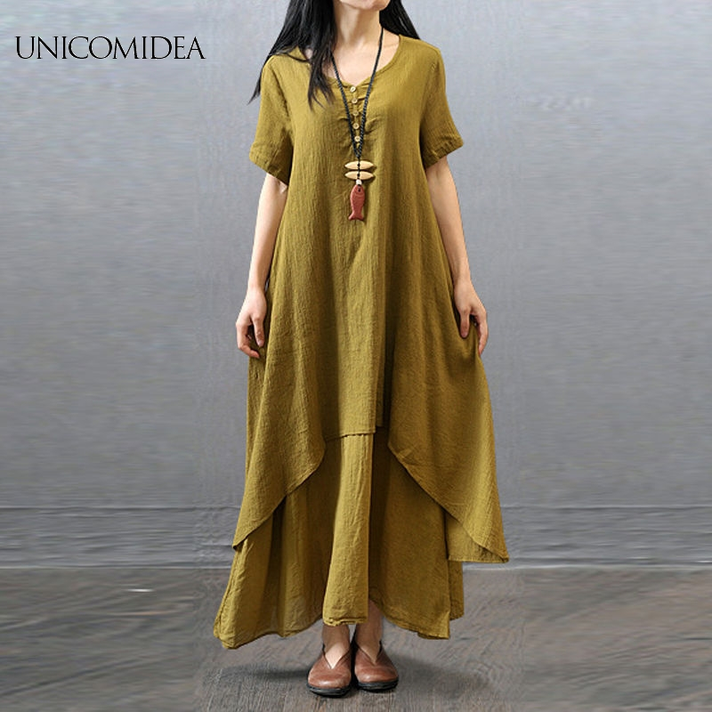 4f4e1274e24 Women Dress Plus Size Cotton Linen Short Sleeve Gypsy Ethnic Blouse Shirt  Dress Summer Casual Fake Two Pieces Dress vestidos -in Dresses from Women s  ...