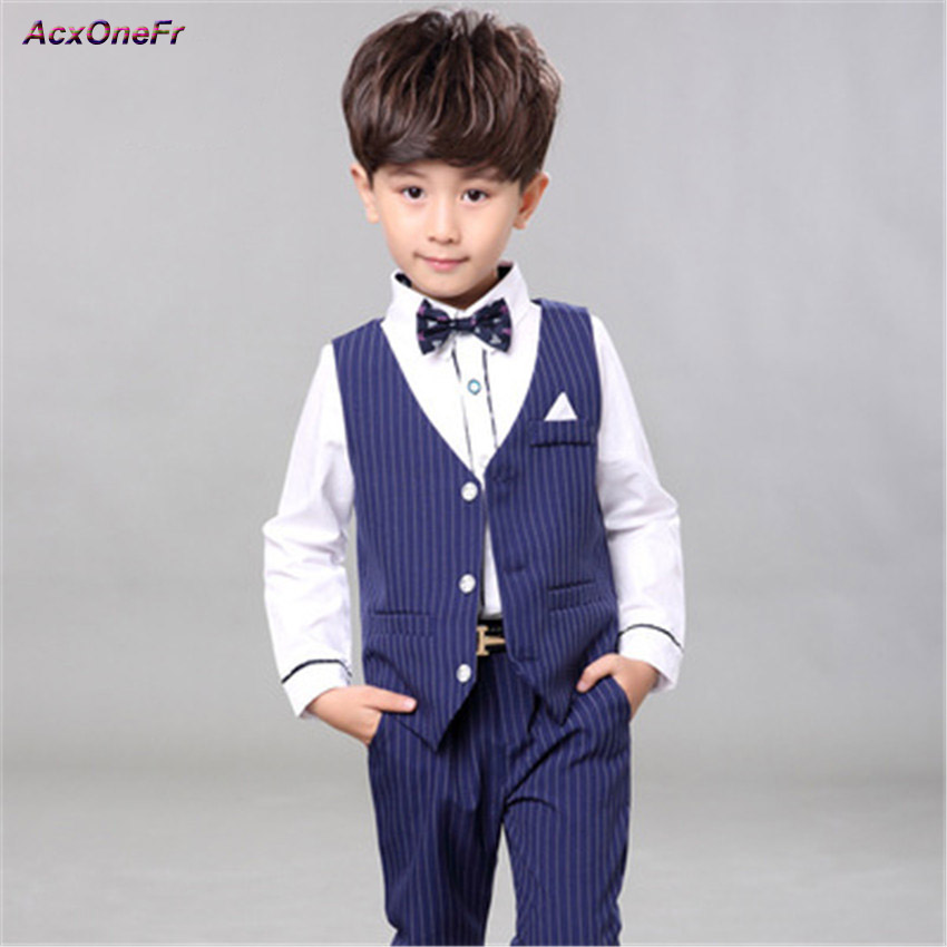 Boy Wedding Full Sets Waistcoats Trousers 2 Piece Clothing For Groom Wedding Suits Kids Mariage Tuxedo Formal BlueBlazer WM-094 2 tuxedo