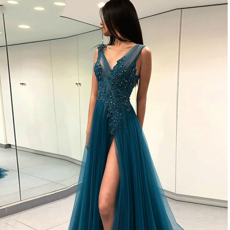 Evening Dresses Long 2019 V-neck Beaded Lace High Slit Tulle Prom Formal Dress Formal Womens Sexy Evening Luxury Dresses Formal
