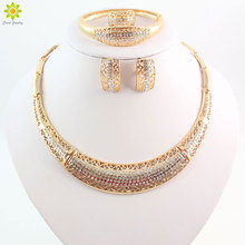 African Costume Jewelry Sets Gold Color Fashion Wedding Women Bridal Accessories Necklace Set