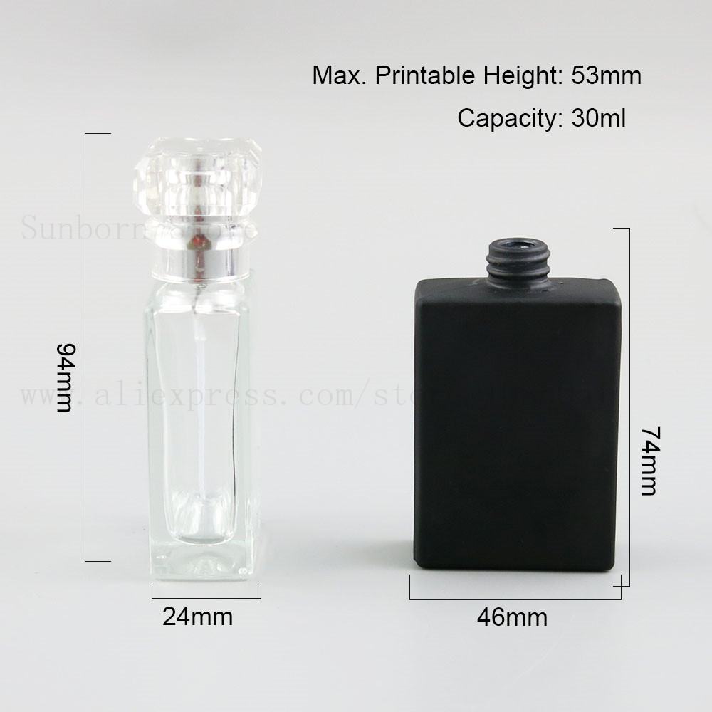 Купить с кэшбэком 30ml Clear Black glass empty perfume bottle atomizer spray Refillable bottle spray box travel size portable 1pc