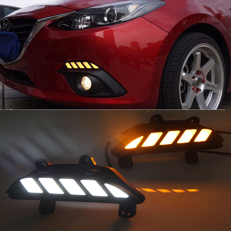 Car Dynamic LED Dimming and Turn Signal Light style Relay 12V LED car DRL daytime running lights for Mazda 3 axela 2013 -2016 new dimming style relay waterproof 12v led car light drl daytime running lights with fog lamp hole for mitsubishi asx 2013 2014