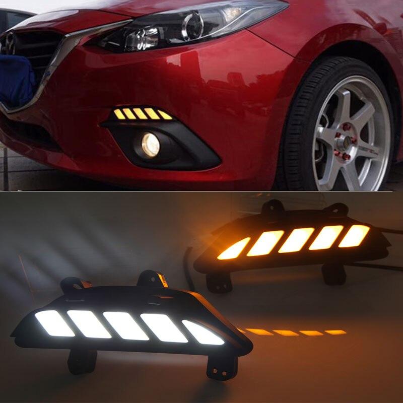 Estilo Dinâmico LED Escurecimento e Transformar a Luz do Sinal do carro Relé 12 v LEVOU carro DRL luzes diurnas para Mazda 3 axela 2013-2016