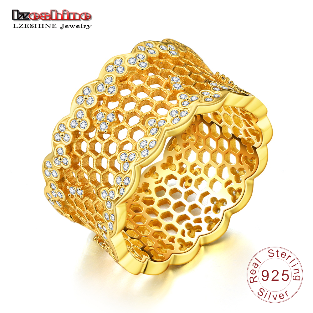 LZESHINE Shine Honeycomb Lace 925 Silver Ring Gold Color Mesh Sterling Silver Rings Brand Hyperbole Party Jewelery for Girls hot sale new collection good quality luxuxious shine 925 real silver honeycomb lace ring