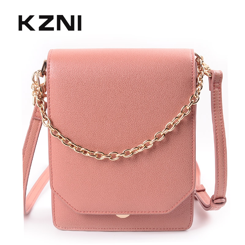 KZNI Cross Shoulder Bags Female Women Bag Chain Women Handbag Genuine Leather High Quality Sac a Main Femme Pochette 9035 kzni genuine leather cowhide clutch cross shoulder bags high quality rivet crossbody bag sac a main femme bolsos mujer 9062 9063