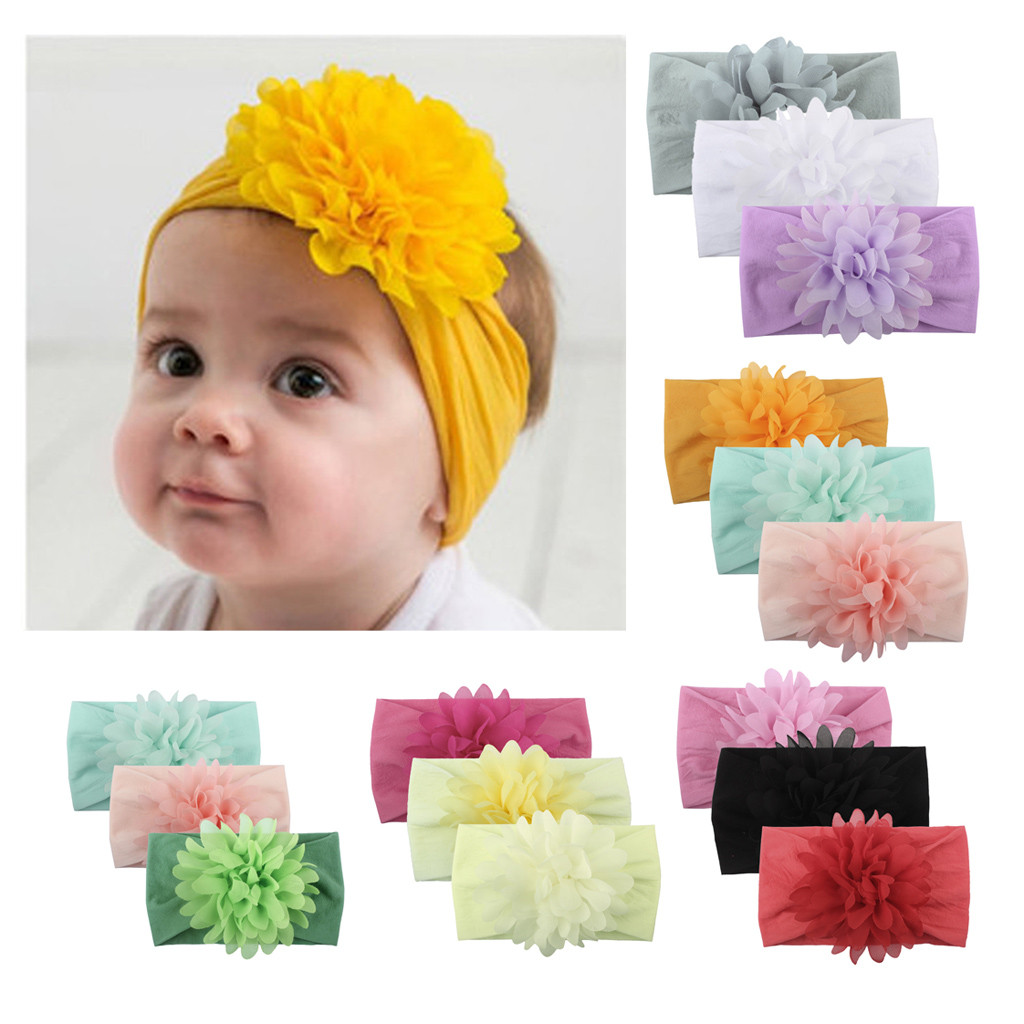 Hair Bands For Baby Girls Unisex Solid Floral Knot Headband Set Newborn Kids Turban Hair Band Accessoire Gift L0514