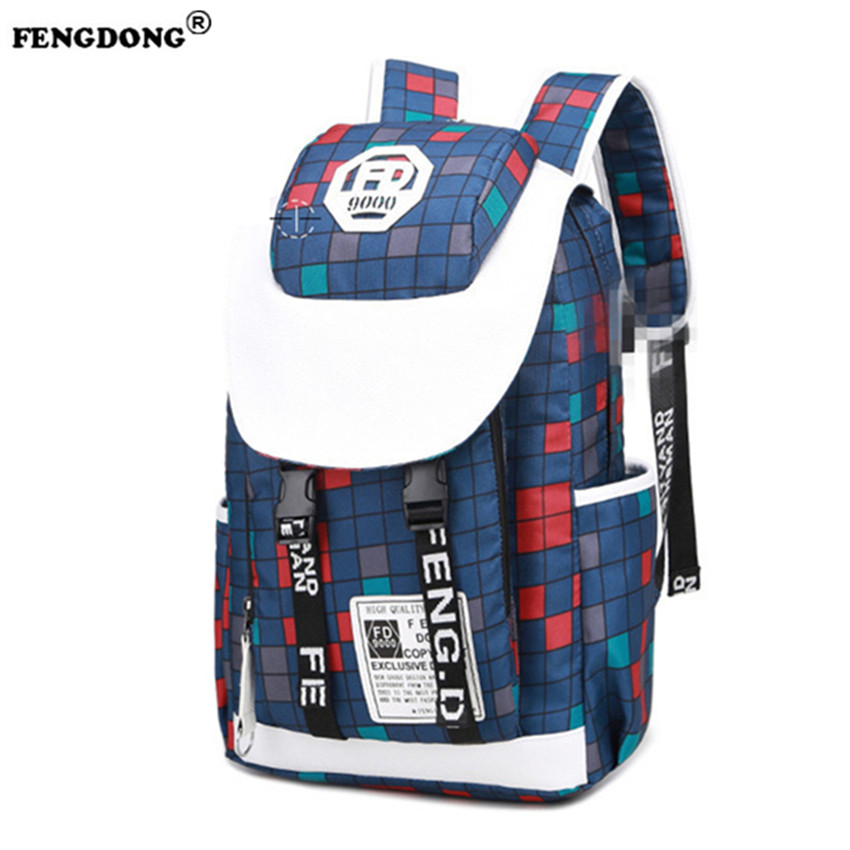 FENGDONG Men Backpack Oxford School Bags Fashion Brand Designer Youth College Bags Back Pack Waterproof Backpacks Male  fengdong men backpack oxford youth fashion brand usb charge designer back pack college bags school bag waterproof backpacks male