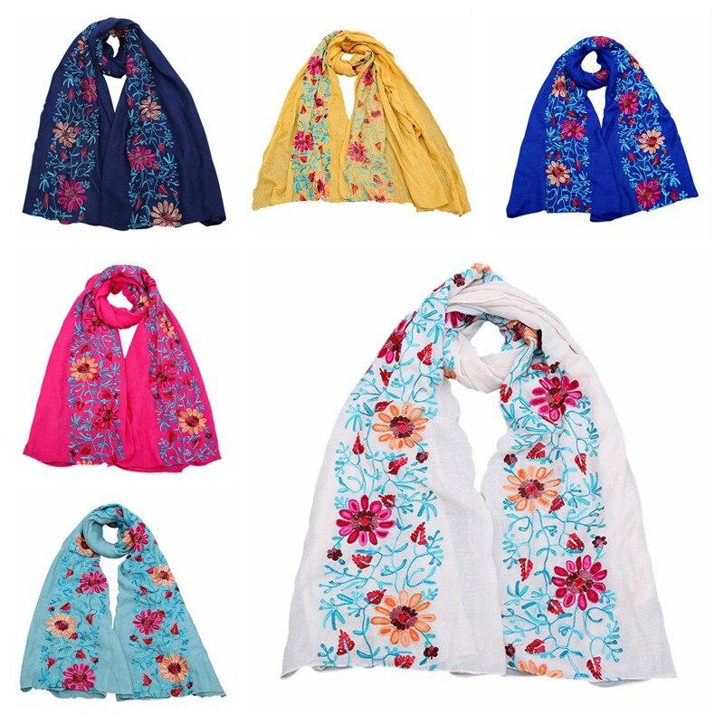 45277914b8b5 90 180 CM Dames femmes longue grande taille brodé hijab foulards floral  viscose châle ethnique japonais Bandana top qualité dans Foulards de  Vêtements ...