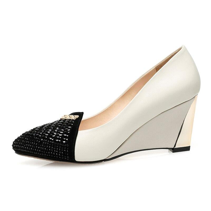 Universo cristal boda bombas cuña otoño primavera Slip on cuero genuino superficial desnudo Rojo Negro tacón Mujer Zapatos vestido c008 - 4