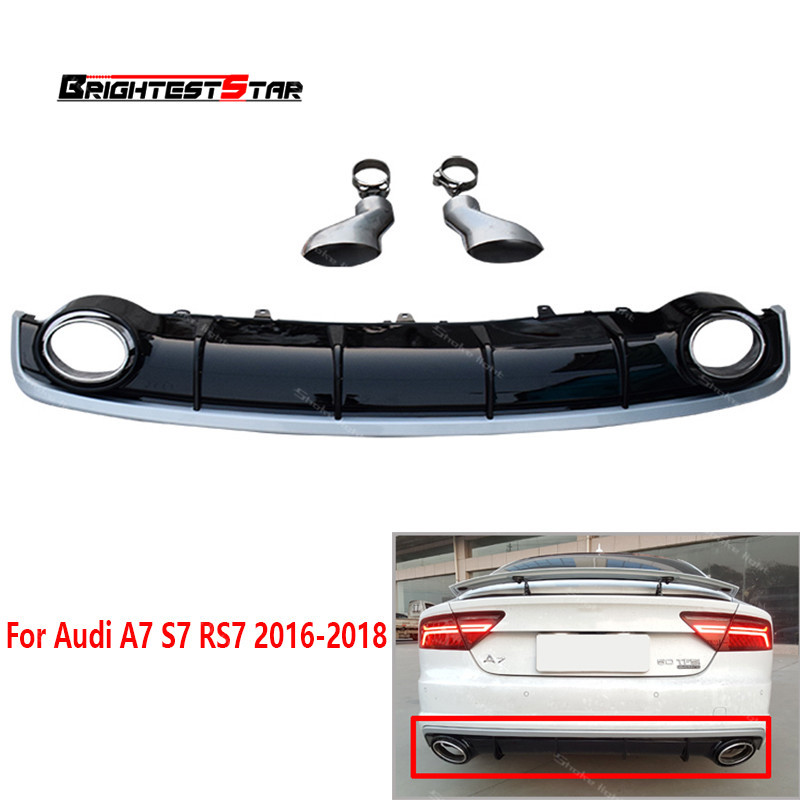Facelift Rear Bumper Akrapovic Exhaust Tip Rear Bumper Diffuser Exhaust Tips For Audi A7 S7 RS7 2016 2017 2018