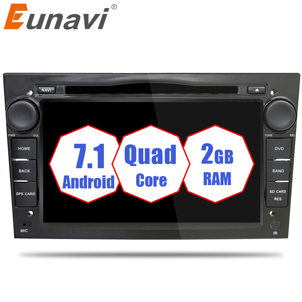 Eunavi 2 Din Quad Core Android 7.1 Car DVD Radio Player For Opel Astra Vectra Antara Zafira Corsa GPS Navigation Wifi Bluetooth wince 6 0 steering wheel control bluetooth rds for opel astra vectra zafira car dvd player gps navigation free map touch screen