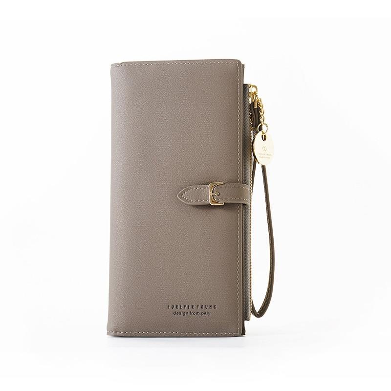 Браслет женский длинный кошелек Много отделов женские кошельки клатч Дамский кошелек на молнии карман для телефона держатель для карт дамские Carteras - Цвет: Gray
