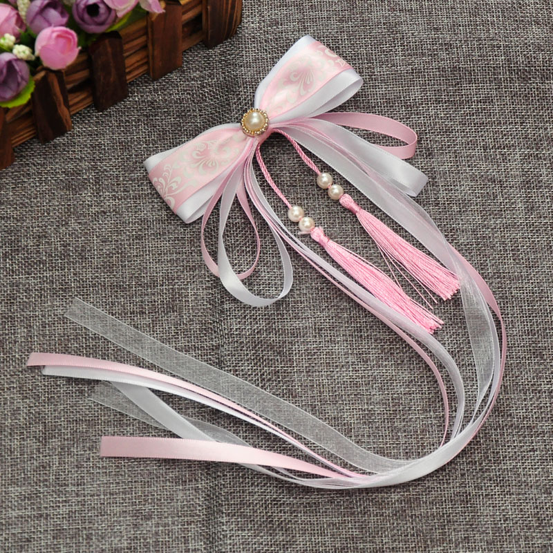 Ancient Fairy Ribbon Tassel Hair Clip Hairpin Ribbon Dance Show Photo Tire Hanfu Princess Clips