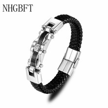 NHGBFT Punk Style Black Braided Leather Bracelet For Mens Stainless Steel Magnetic Clasp Bangles Dropshipping jiayiqi men multilayer braided leather bracelet stainless steel magnetic clasp bangles fashion punk male jewelry
