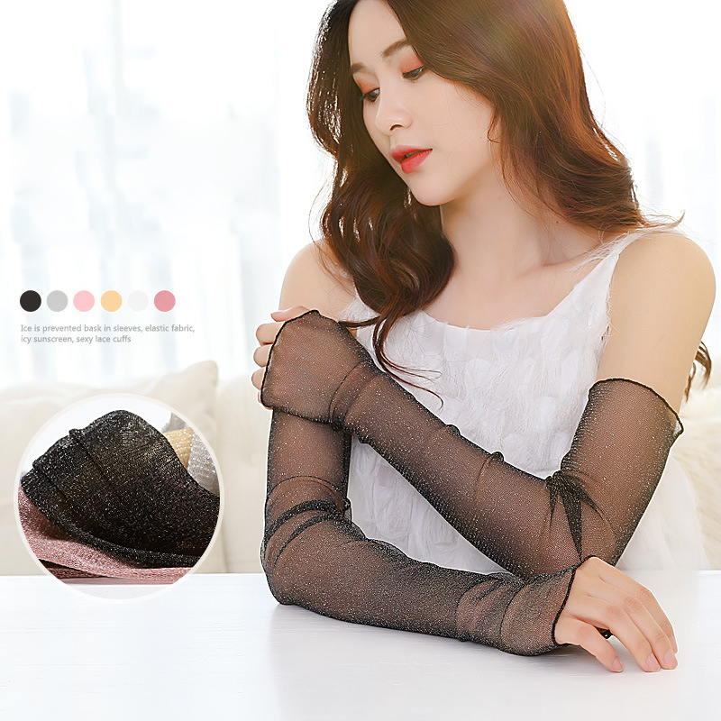 Summer UV Protection Lace Arm Sleeves For Elegant Women Cooling Arm Long Sleeves Sun Protection Long Fingerless Driving Gloves