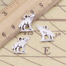 20pcs Charms howling wolf 15x15mm Tibetan Silver Plated Pendants Antique Jewelry Making DIY Handmade Craft(China)