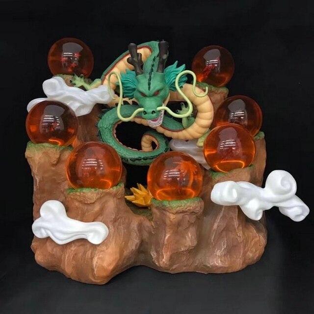 Dragon Ball Z The Dragon Shenron + Tree Stump Stand + 7 Crystal Balls Set PVC Figures Japanese Anime Collectible Model Toys