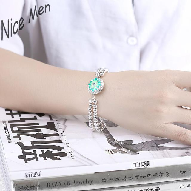 Light Blue Balls Chains H404 Free Shipping Latest Women Classy Design Silver Bracelets Bangles Factory Direct