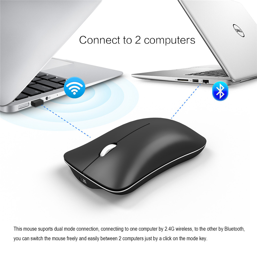 Black Dual Mode Bluetooth 4.0 Mouse Professional Wireless Mouse 1600DPI Rechargeable Optical Mice for Lenovo DELL Macbook HP rapoo 6610 2 4ghz dual mode usb wireless 1000dpi optical mouse black silver