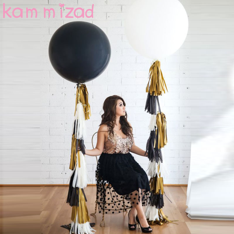large 36inch Black White Latex Balloon+10pcs Tissue Paper Foil Tassel wedding party birthday baby shower decor christmas gift