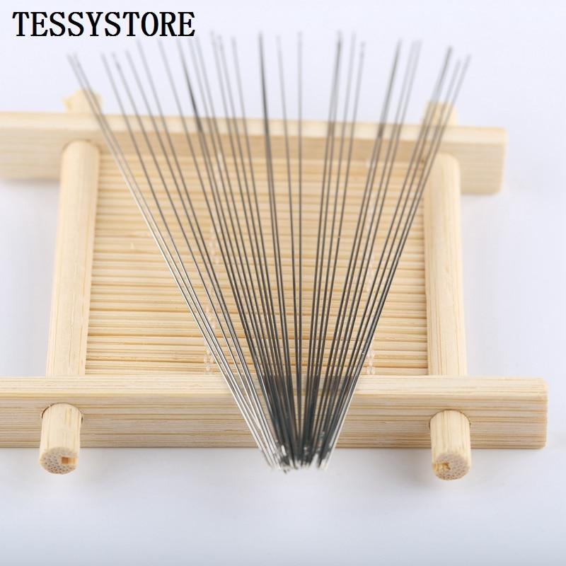 50 pces vários comprimentos de agulhas de miçangas de metal alongado para fazer jóias ferramentas rosqueamento cabo ferramenta