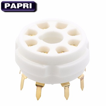 PAPRI 10PCS Ceramic K8A PCB Gold Plated 8Pin Vacuum Tube Socket Top Mount Gold Octal Valve Base For KT88 EL34 274B 6SN7 6V6 2 silver gold cnc machined aluminum cv181 6ca7 6n9p 6sn7 tube pre amplifier decorating base ring