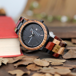 Image 3 - BOBO BIRD Antique Mens Wood Watches Date and Week Display Business Watch with Unique Mixed Color Wooden Band anniversary gift