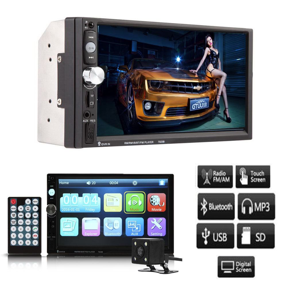 7HD 2 DIN Car Stereo Touch Screen MP3 MP5 Player Bluetooth Radio in Dash+Camera 7 hd 2din car stereo bluetooth mp5 player gps navigation support tf usb aux fm radio rearview camera fm radio usb tf aux