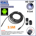 15pcs 6 LED 7mm Lens Android USB Endoscope Waterproof Inspection Borescope Tube Camera with 3.5m Cable Mirror Hook Magnet