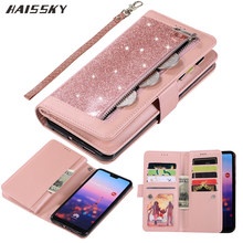 Huawei P30 Pro P20 lite Case Flip Cover Wallet Glitter Leather Zipper Case Huawei Mate 20 lite 10 Pro Luxury Magnetic Book Bag(China)