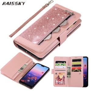 Image 1 - Huawei社P40 P30 プロP20 liteのケースフリップカバーグリッタージッパー財布電話ケースhuawei社メイト 30 20 lite 10 プロ磁気革ケース