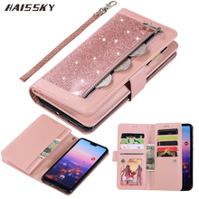 Huawei P40 P30 Pro P20 lite Case Flip Cover Glitter Zipper Wallet Phone Case Huawei Mate 30 20 lite 10 Pro Magnetic Leather Case