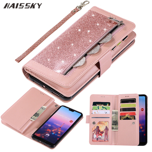 Image 1 - Huawei P40 P30 Pro P20 lite Case Flip Cover Glitter Zipper Wallet Phone Case Huawei Mate 30 20 lite 10 Pro Magnetic Leather Case