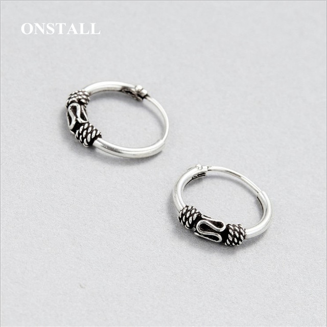 free shipping ONSTALL Brand Thai silver Stud earrings 100% pure 925  Sterling Silver earring for women Silver Jewelry FJ-E048