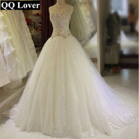 QQ Lover 2018 The Latest Luxury Beads Big Train Wedding Dresses Ball Gown Wedding Gowns Bride Dress