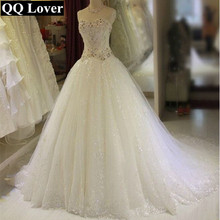 ROUND MOON 2017 The Latest Luxury Beads Big Train Wedding Dresses Ball Gown Gowns Bride Dress
