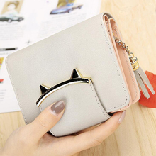 Cute Cat Leather Womens Bags Mini Wallet and Card Purses Female Tassel Slim Wallet Coin Small Purse for Women Ladies Wallets