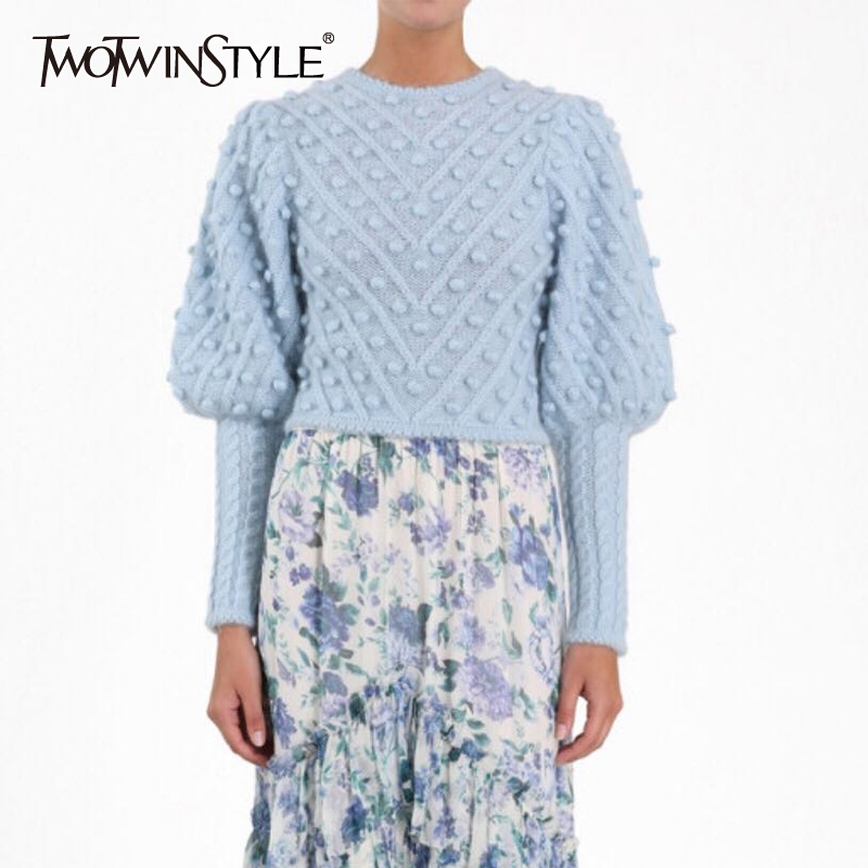 TWOTWINSTYLE Lantern Sleeve Sweater For Women O Neck Large Size Ball Knitting Pullover Tops Female Vintage Fashion Clothes 2019