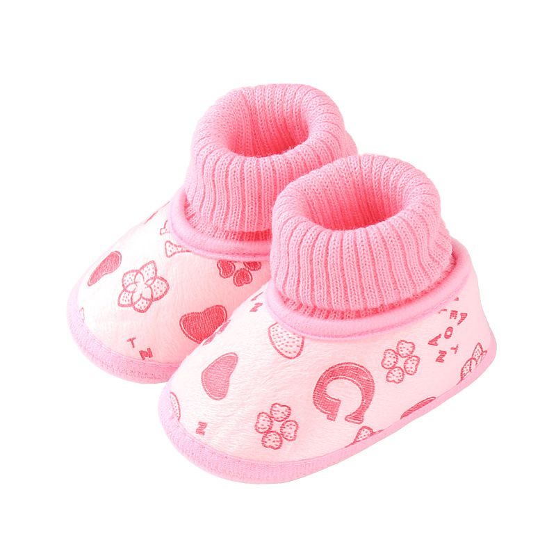 Autumn Winter New Baby Shoes Cotton Shoes  Peach Heart Girls Boys Baby Soft Bottom Baby Shoes A1